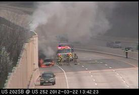 The view from the PENNDOT traffic camera on Rt. 202 in Tredyffrin as Berwyn Engine 2-2 arrived on location.