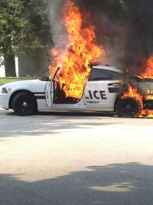 Police Cruiser Catches Fire And Explodes Berwyn Fire Company