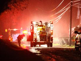 Engine 2-1 arriving at the scene of the house fire on Maple Ave. in Easttown Township.