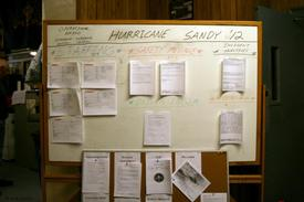 An informational board was posted for all members that displayed safety information, weather reports, objectives for the storm event response and other important documents.
