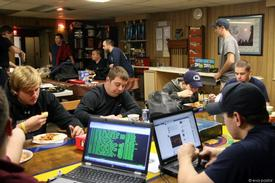Fire/EMS personnel in the Back Room at the fire station in between calls.