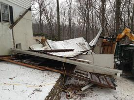 A view of the garage after it had collapsed in the 500 block of Mount View Road in Tredyffrin Township.