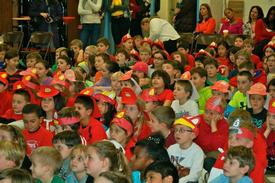 Beaumont Elementary School students dressed in police blue and fire engine red during the assembly.