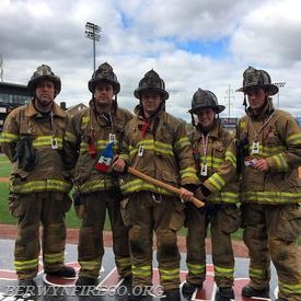 (L-R) Captain Christopher Bullock, Firefighter/EMT Tom Hardon, Firefighter/EMT Josh Lichman, Firefighter Mary Ellen Toscani and Lieutenant Evan Brazunas completed the 9/11 Memorial Stair Climb at Clipper Magazine Stadium in Lancaster County.