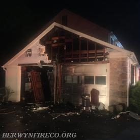 Firefighters were able to contain the damage to the garage portion of this Tredyffrin home.