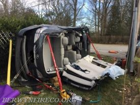 A post-rescue view of the scene. The red devices in the image are called Junkyard Dog Rescue Struts that help to stabilize a vehicle. These ensure the vehicle doesn't move and in turn keeps any victims and rescuers safe during the rescue effort.