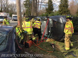 Berwyn Fire/EMS personnel begin rescue efforts  at a two-vehicle crash in Easttown Township. This was one of 11 calls handled during a busy Thursday.