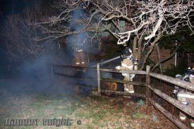 Berwyn Engine 2-2 quickly deployed a hoseline to extinguish a brush fire next to a home on Old Eagle School Road.