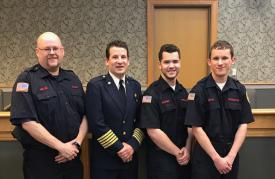 The Berwyn Fire Company was proud to be represented by a strong group of volunteers who were awarded scholarships in the pursuit of undergraduate and graduate degrees.   (L-R) FF/EMT Vincent Miller, Fire Chief Eamon Brazunas, FF Ryan Peterson, & FF Andrew Ritter
