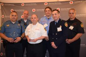 Tredyffrin Police Officers and Berwyn fire/EMS personnel at the American Red Cross Chester County Heroes Breakfast. (L-R) Corporal Tyler Moyer, Officer Neil Jackson, EMS Captain Michael Baskin, EMS Lt. Carl Weisbecker, Captain Evan Brazunas, & ALS Coordinator Christopher Bickings.