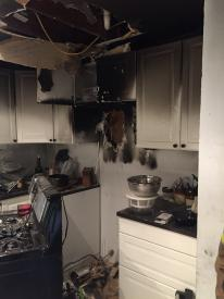 Firefighters made quick entry and were able to contain the fire to the kitchen area of the home.