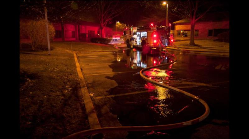 Berwyn Engine 2-3 arrived on location and utilized a nearby fire hydrant to help extinguish the fire.