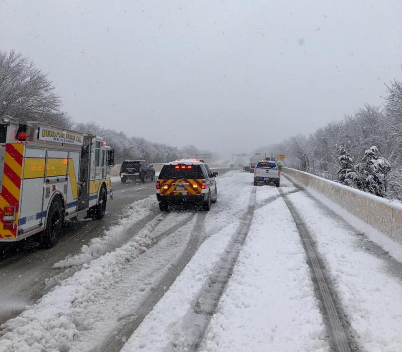 A tractor trailer jackknifed on Rt. 202 near West Valley Road during the storm. Thankfully no one was injured.