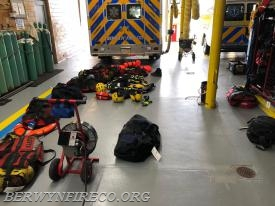 A view of the water rescue gear that was inventoried, decontaminated, and restored after the rain subsided in the area.