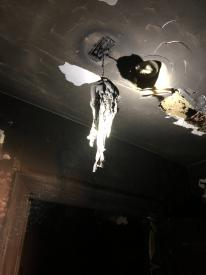 A view of the smoke detector in the condo unit that caught on fire. This is the type of heat firefighters experienced as they made their way in to extinguish it.