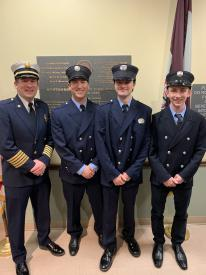 (L-R) Fire Chief Eamon Brazunas, Firefighter Ryan Kramer, Firefighter Matthew Smith-Tucker and Firefighter Scott Miesen