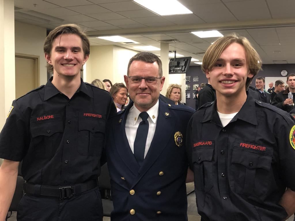 Deputy Chief Justin Brundage with Berwyn graduates Samuel Nalbone and Nicholas Sondergaard at the Chester County Public Safety Training Center.