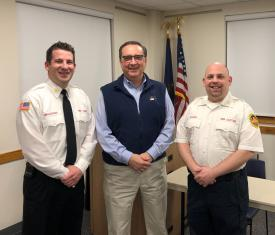 Berwyn Fire Chief Eamon Brazunas and Berwyn EMS Captain Michael Baskin with Recovery Centers of America Devon CEO Steve Wicke.
