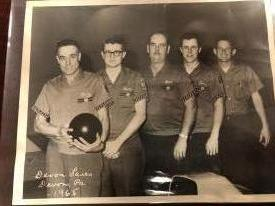 The Berwyn Fire Company Bowling Team from 1965 at the Devon Lanes. Jim is second from the right.