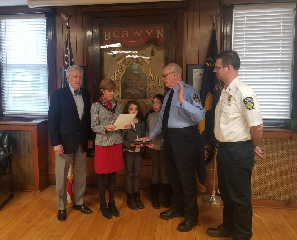 (L-R) Easttown Twp. Board of Supervisors Marc Heppe, Easttown Twp. Board of Supervisors Chair Betsy Fadem, Berwyn Fire Police Officer Hugh Friel, & Berwyn Fire Police Captain David Staats