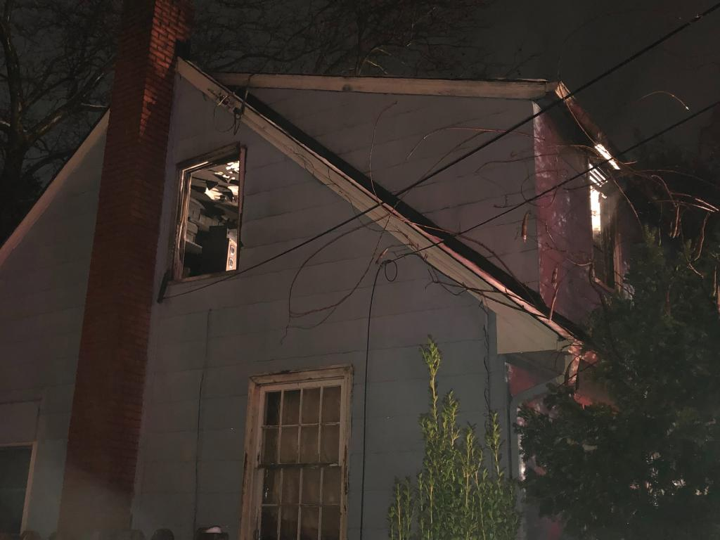 A post fire exterior view of the 2nd floor where the fire occurred.