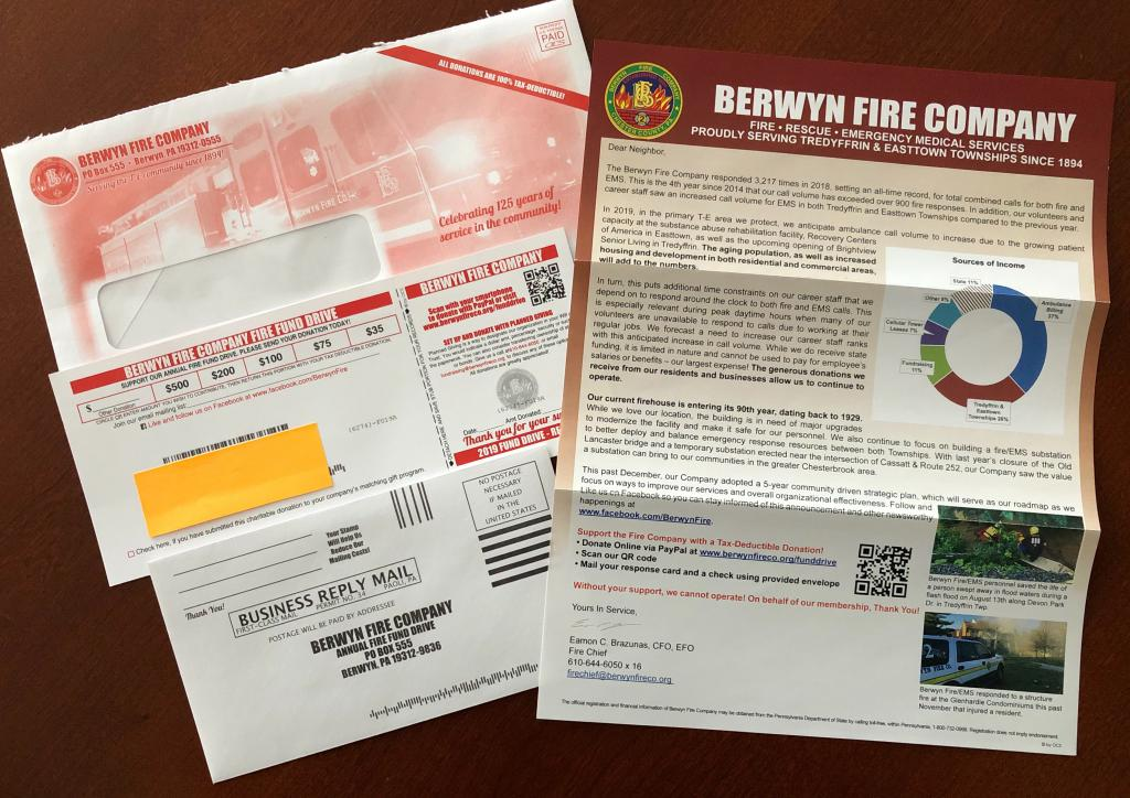 Support the Fire Company with a Tax-Deductible Donation: Donate Online via PayPal on the BFC website, Scan our QR code on your letter or Mail your response card and a check using the provided envelope.