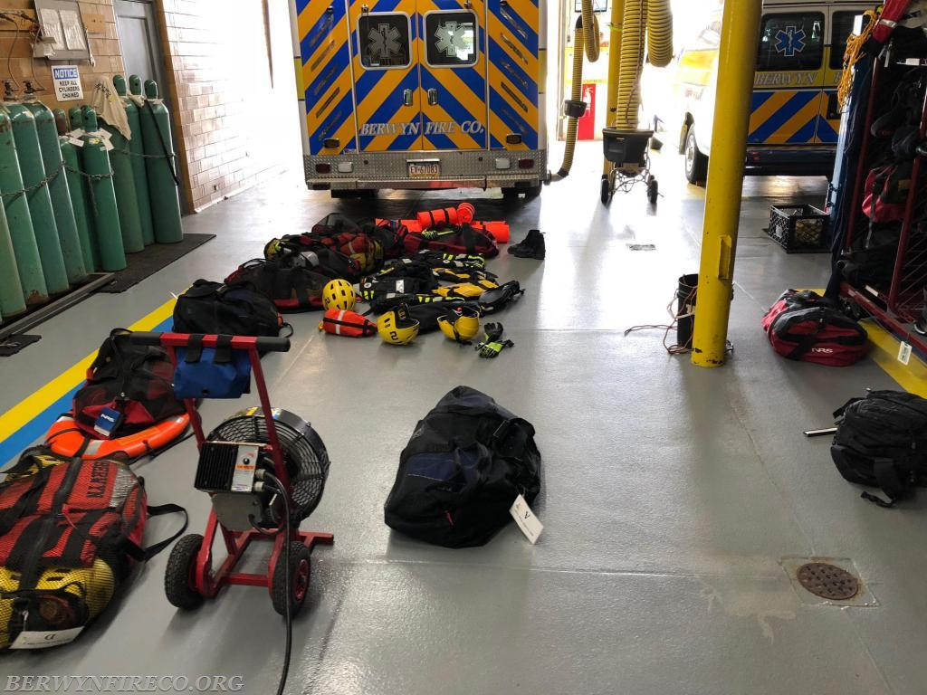 Water rescue equipment drying off after 18 water rescues during a major storm on August 13, 2018.