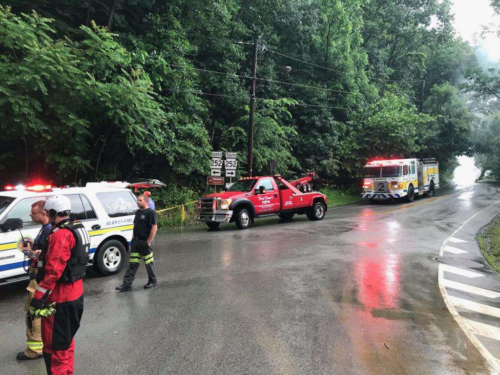 Emergency vehicles and personnel staged in the area of Valley Forge Rd. & Yellow Springs Rd. in Tredyffrin Township.