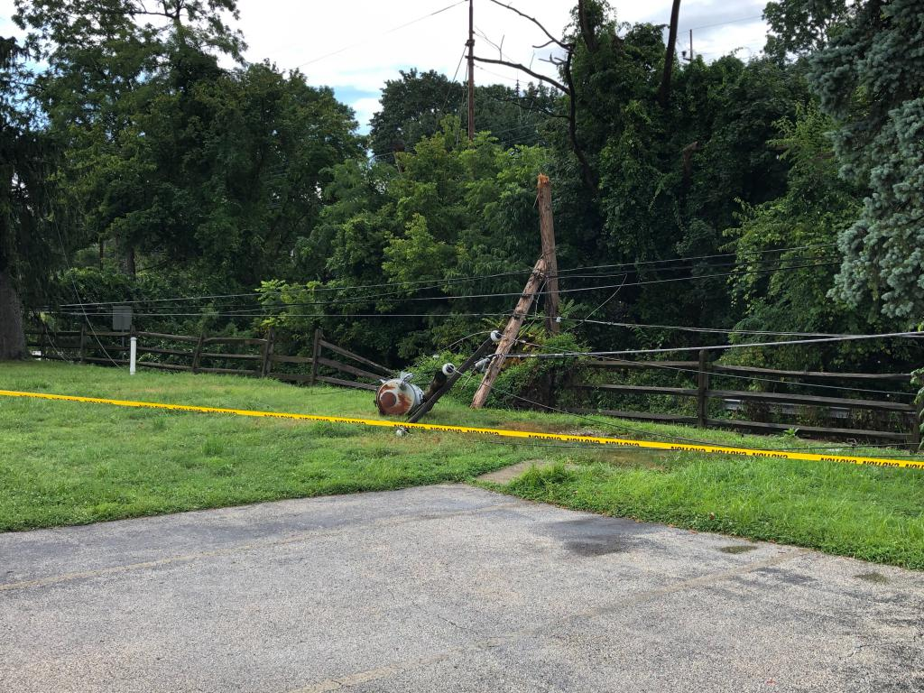 A view of the telephone pole and wires brought down by a tree along N. Lakeside Ave. near the Old Lancaster Rd. bridge underpass in Easttown Twp.