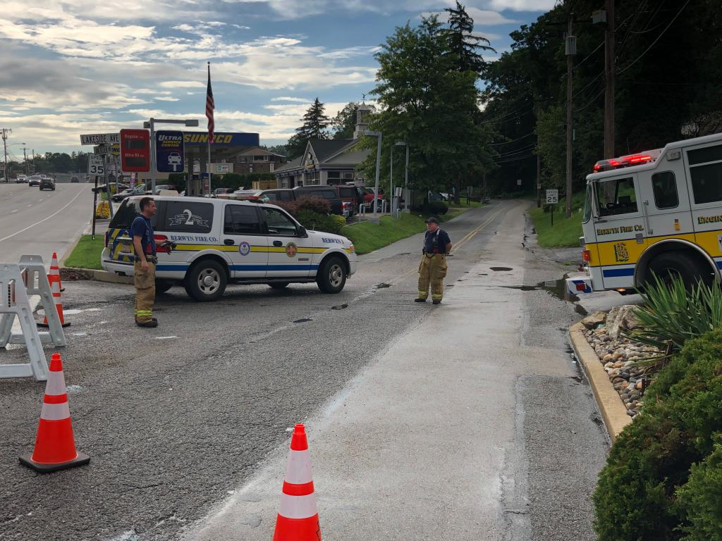 Firefighters shut down the area of N. Lakeside Ave. and Old Lancaster Rd. with the assistance of the Easttown Twp. Police and Public Works Departments.