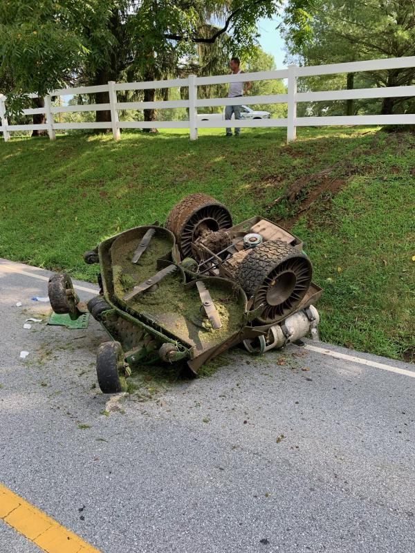 Berwyn firefighters and EMS crews were alerted to the 1000 block of Beaumont Road near the Easttown Township Municipal Building for a worker who was injured after overturning a lawnmower.
