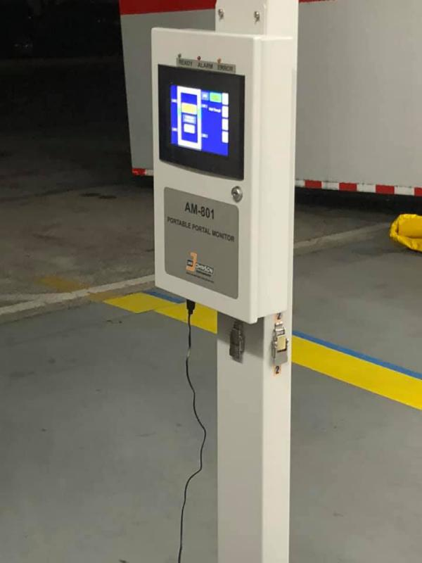A view of the screen of the portable radiation detection station.