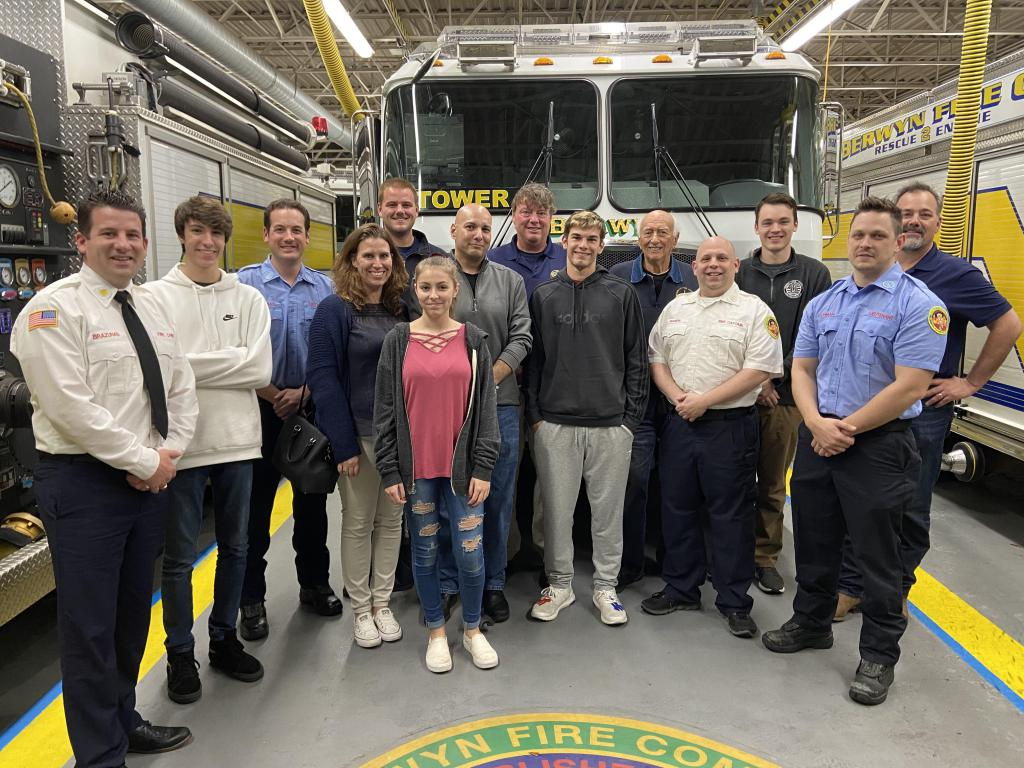 Berwyn rescuers joined by Don Albertson and his family.