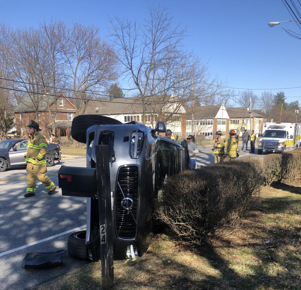 A two-vehicle crash in the 1200 block of Lancaster Ave. in Tredyffrin Township sent one car onto its side. Everyone involved was wearing seat belts and avoided serious injury.