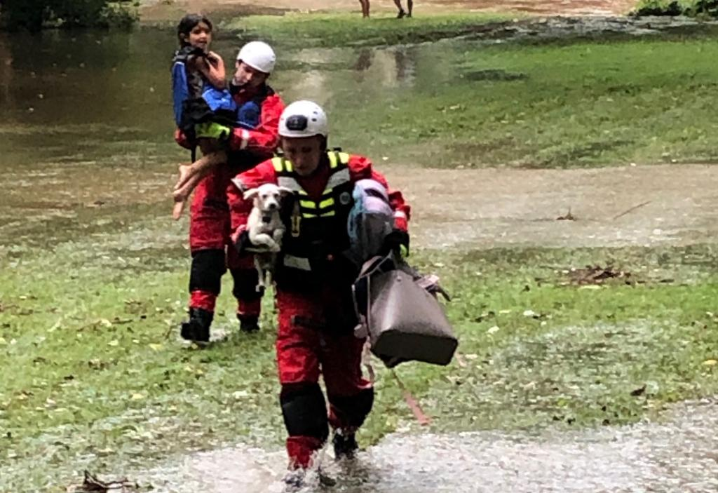 Berwyn rescuers safely removed a family and their dog from their car that was caught in floodwaters in the Glenhardie section of Tredyffrin Township on Monday, July 6th.