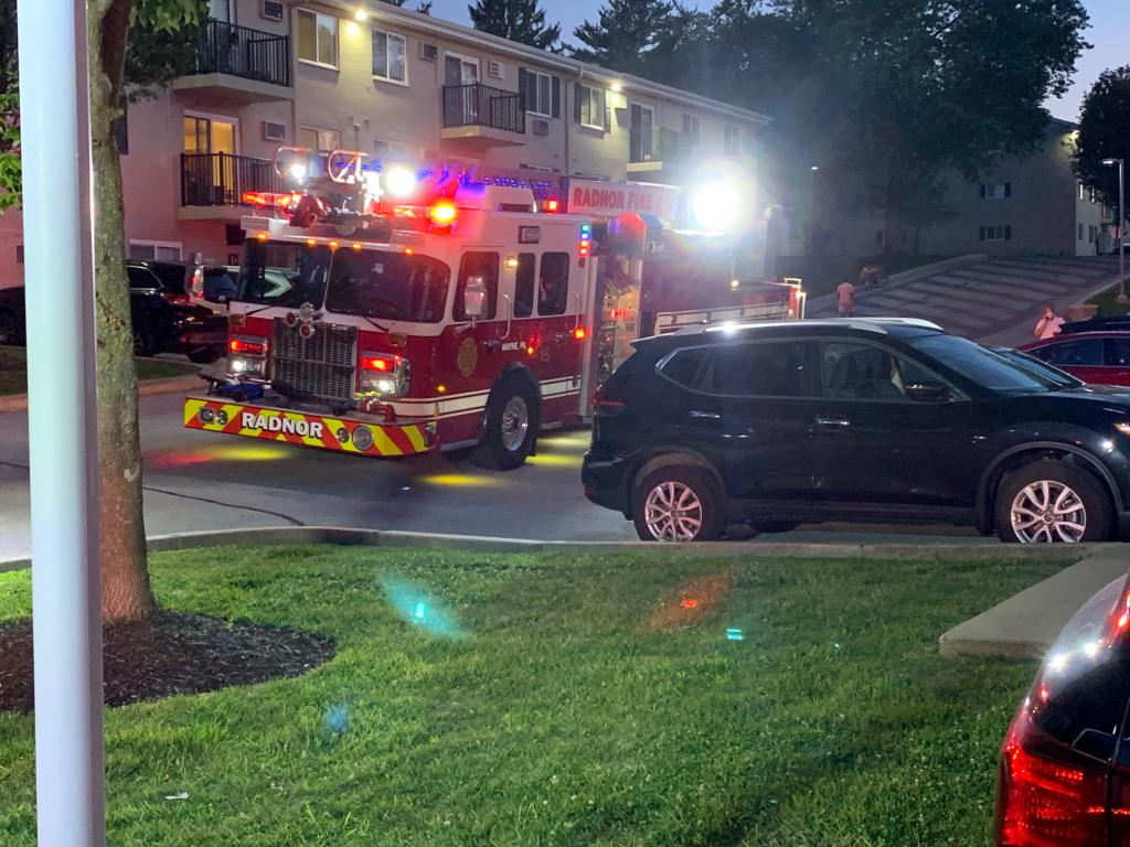 Radnor Fire Company Quint 15 assisting on the scene at the Stonegate at Devon Apartments in Tredyffrin Township.