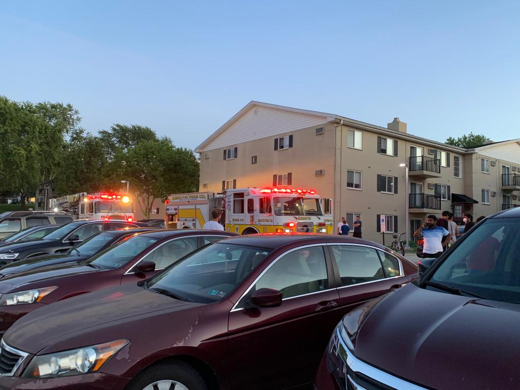 Berwyn Engine 2-2 and Tower 2 on scene at the Stonegate at Devon Apartments in Tredyffrin Township in response to an electrical fire in a utility room.