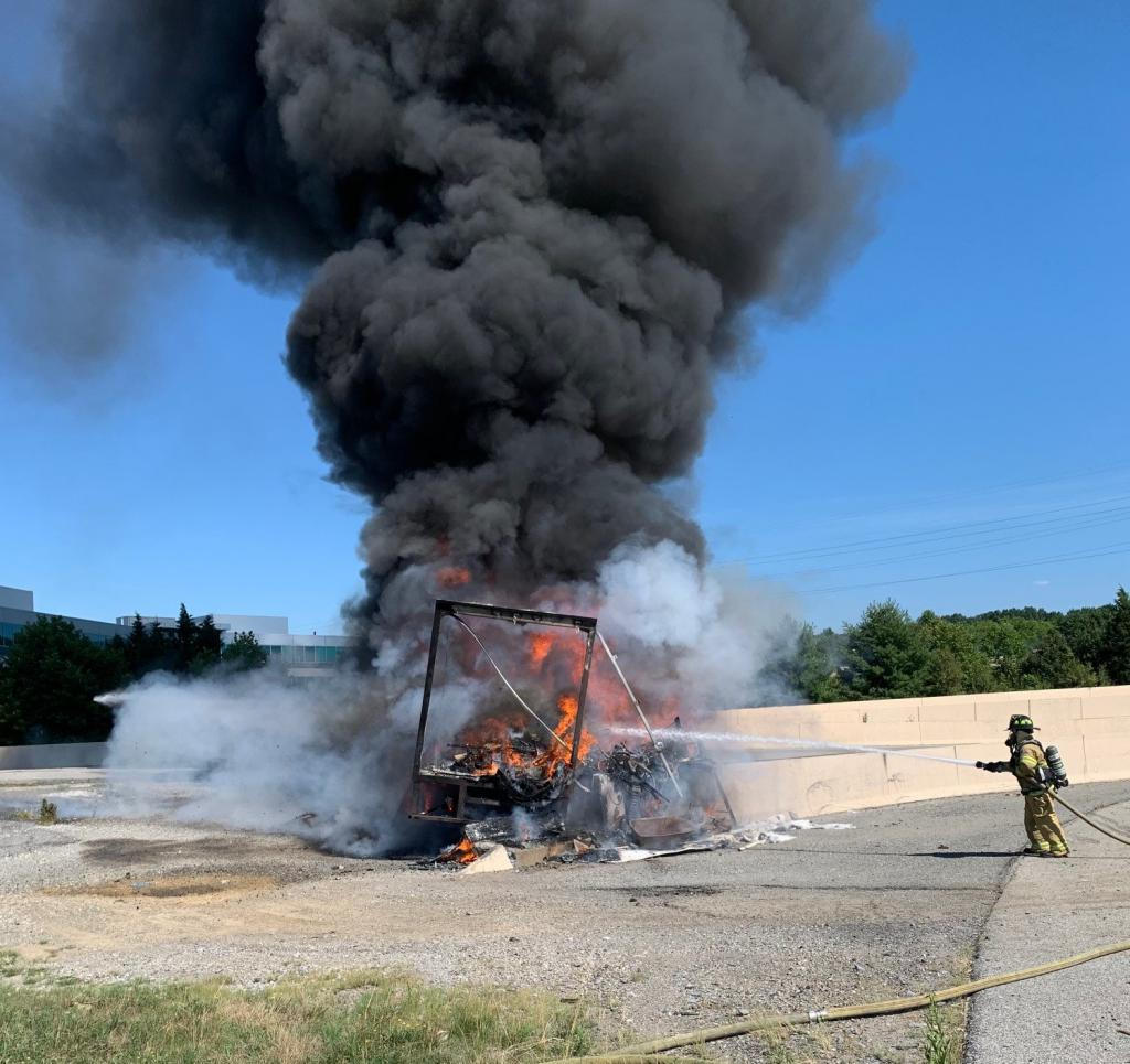 The crew of Berwyn Engine 2-2 beginning to extinguish the flames at a box truck fire in the busy interchange of Rt. 202 and Rt. 422. Fortunately the occupants escaped without injury.