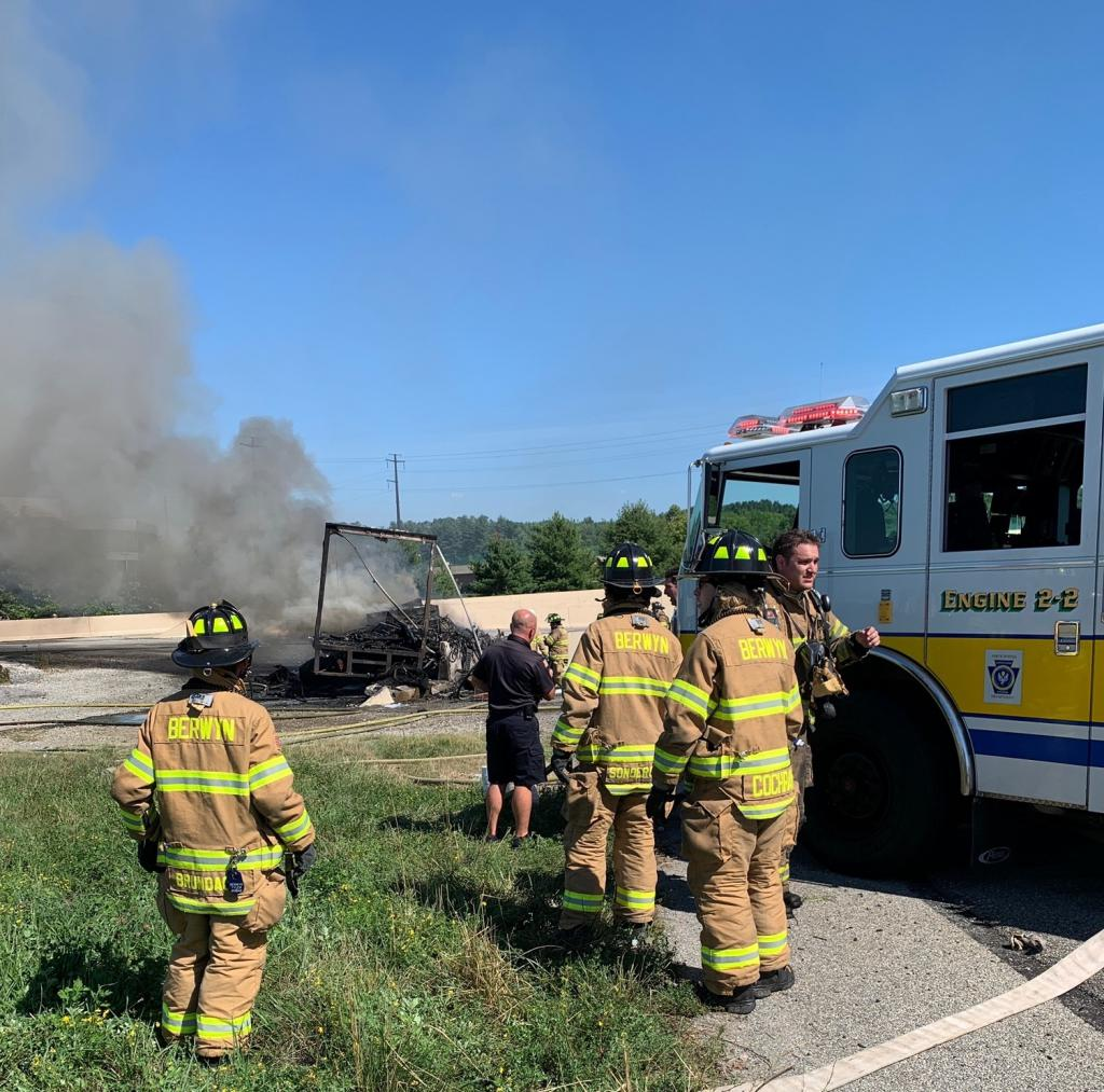 Berwyn sent 6 career staff and 11 volunteers to the box truck fire. This was one of 8 calls that occurred in less than 12 hours.
