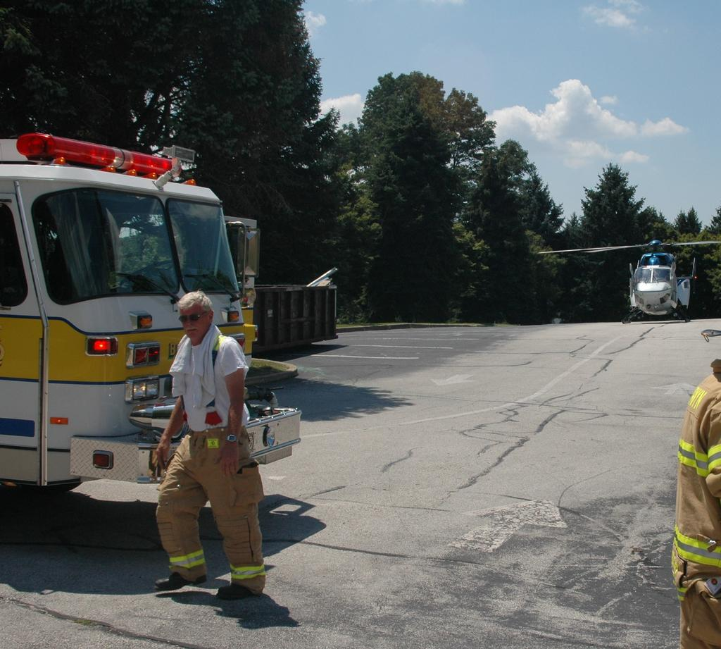 Charlie on the scene of a PennSTAR emergency helicopter landing at Beaumont Elementary School in the early 2000's.