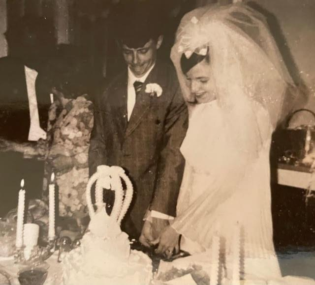 Charlie with his wife Cathy of 50 years on their wedding day.