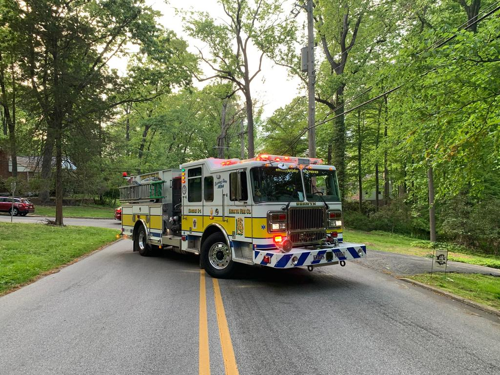 Berwyn Engine 2-1 blocking the roadway at the tree and wires incident in the 700 block of West Valley Rd. in Tredyffrin Twp. on Saturday.