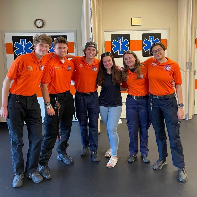 From left to right: EMT Peter Novak, FF/EMT Ethan Tartaglio, EMT Henry Miller, EMS Lt. Emily Nudy, EMT Grace Frey, & EMT Melanie Medrano