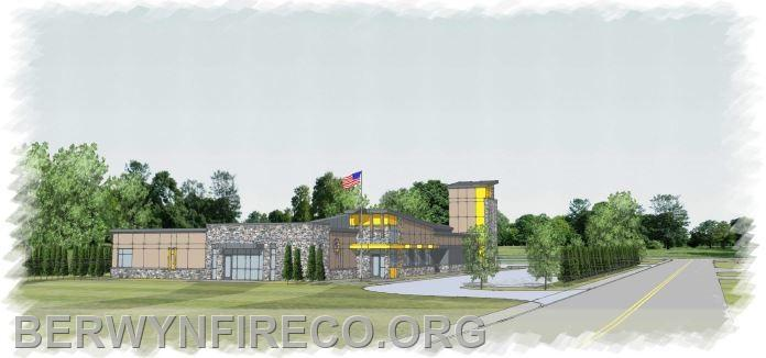 A rendering of a conceptual 1-story Fire/EMS substation aimed at providing a safe and efficient facility to serve the T/E community.