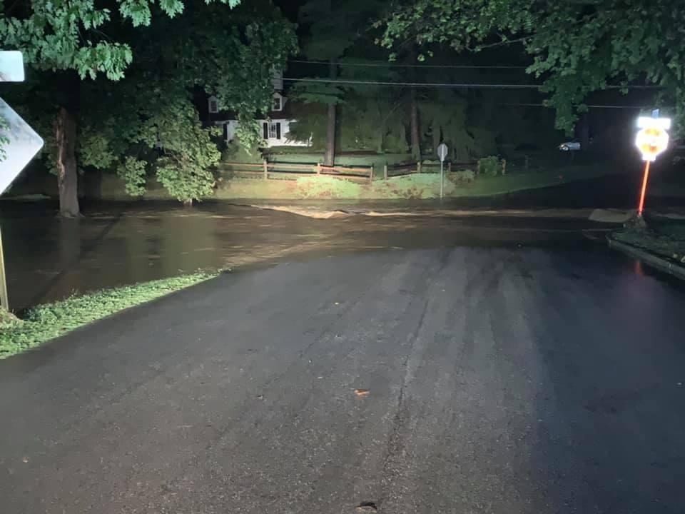 Flooding in the area of Glenhardie Rd. and Richards Rd. in Tredyffrin Township over an hour after the heavy rains stopped.