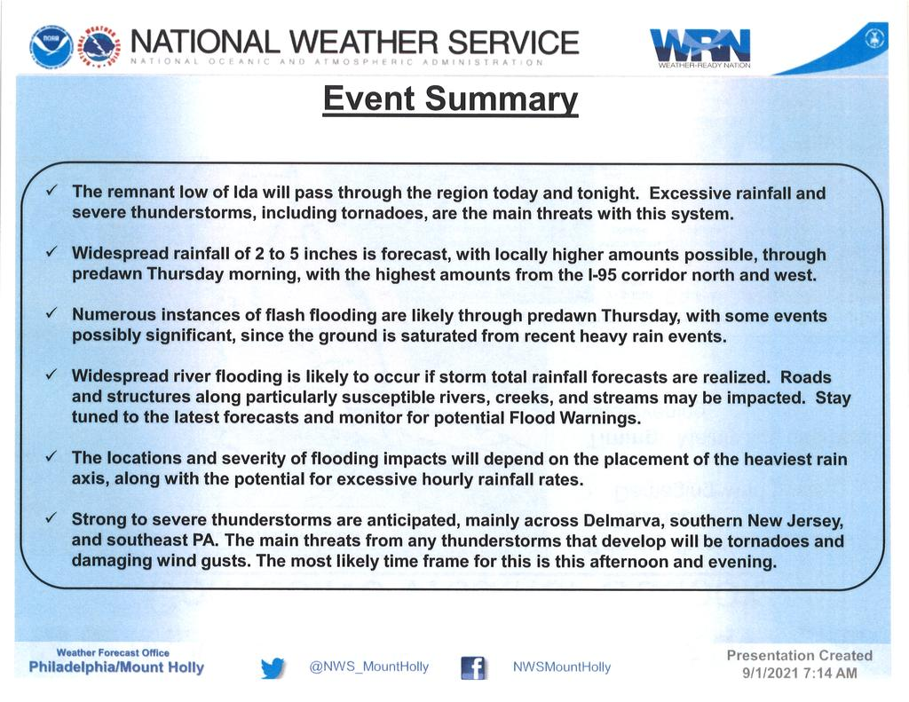US National Weather Service Philadelphia/Mount Holly on September 1, 2021 at 7 a.m.