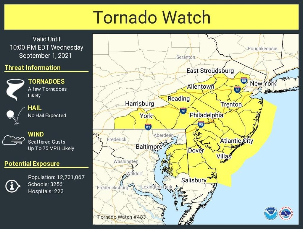 US National Weather Service Philadelphia/Mount Holly on September 1, 2021 at 2:30 p.m.