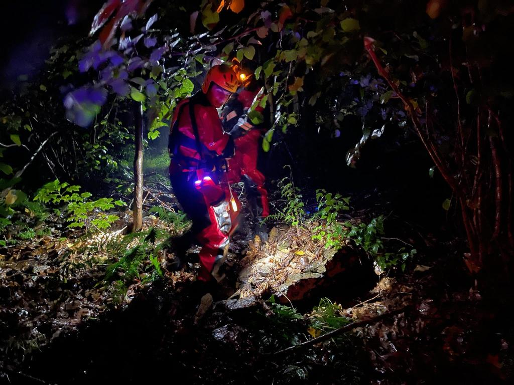 Slippery conditions, heavy rain, rocks, fallen trees, steep terrain and darkness were some of the challenges rescuers worked through during the 4.5 hour rescue operation.